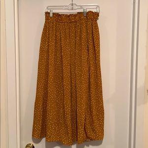 Yellow small polka dot midi skirt